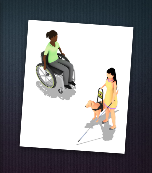 Game characters. Kirra is an indigenous woman with a ponytail, wearing a green shirt and grey pants, who uses a wheelchair. Phoebe is an Asian woman with long black hair wearing a yellow shift dress. She has a guide dog with her and holds a white cane in her left hand.